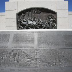 The Reed-Donner Party section of the This is the Place monument in Salt Lake City, Tuesday, May, 31, 2016.