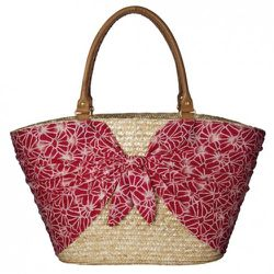 Scarf and Straw Tote in Pink $24.99