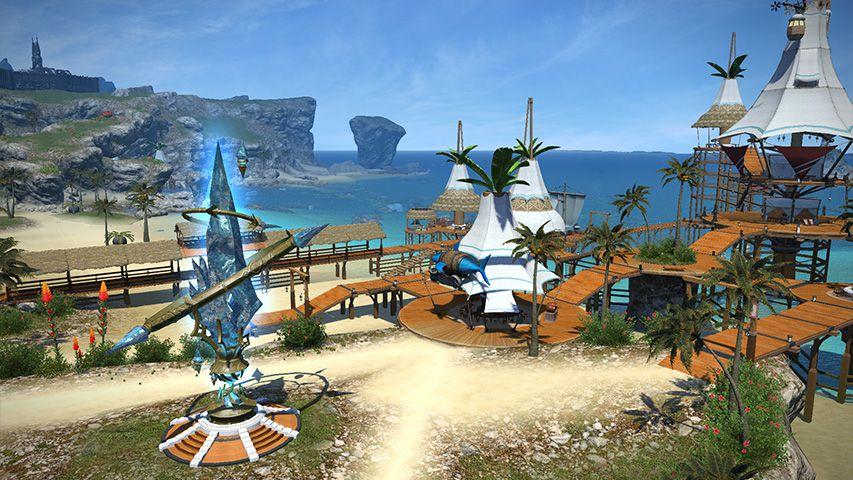A beachside aetheryte in Final Fantasy 14