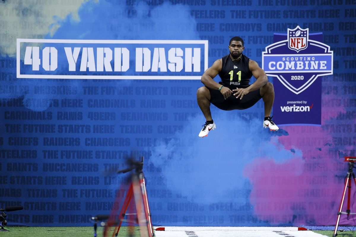 Running back Clyde Edwards-Helaire of LSU prepares to run the 40-yard dash during the NFL Combine at Lucas Oil Stadium on February 28, 2020 in Indianapolis, Indiana.