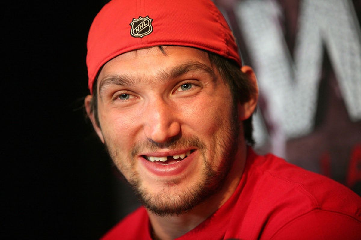 LAS VEGAS - JUNE 22:  NHL MVP candidate Alex Ovechkin of the Washington Capitals is interviewed by the media at the Palms Casino Resort on June 22, 2010 in Las Vegas, Nevada.  (Photo by Bruce Bennett/Getty Images)