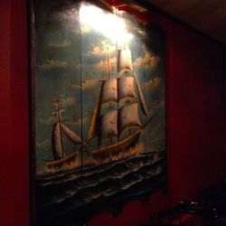 """The tall ships painting they found in upstate New York to go with the """"sea room"""" theme."""