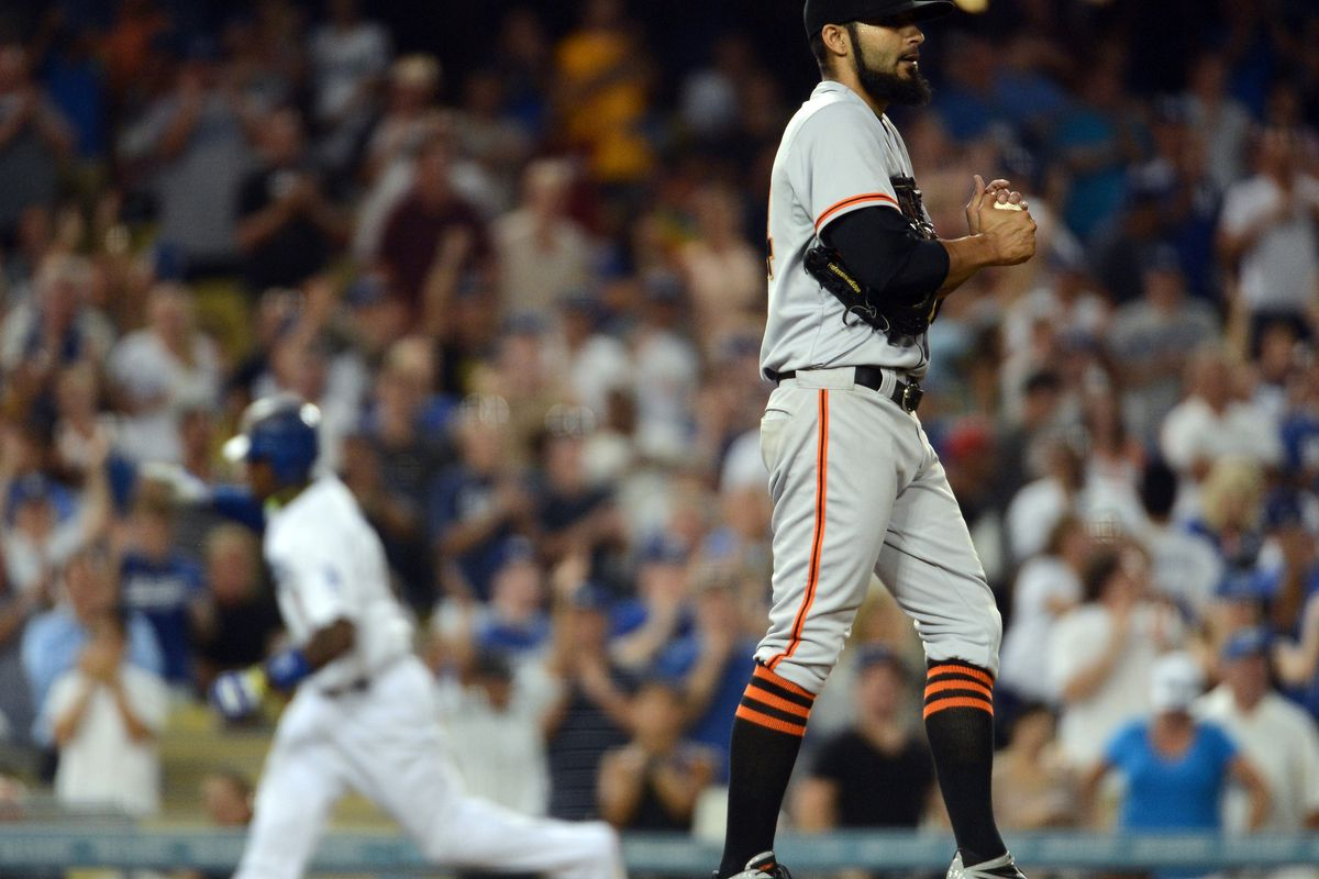 The Giants bullpen has given up more runs than their starters against the Dodgers this season, in about a third of the innings.