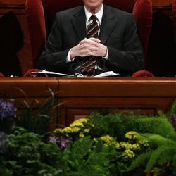 President  Henry Eyring listens during the 182nd Annual General Conference for The Church of Jesus Christ of Latter-day Saints in Salt Lake City  Sunday, April 1, 2012.