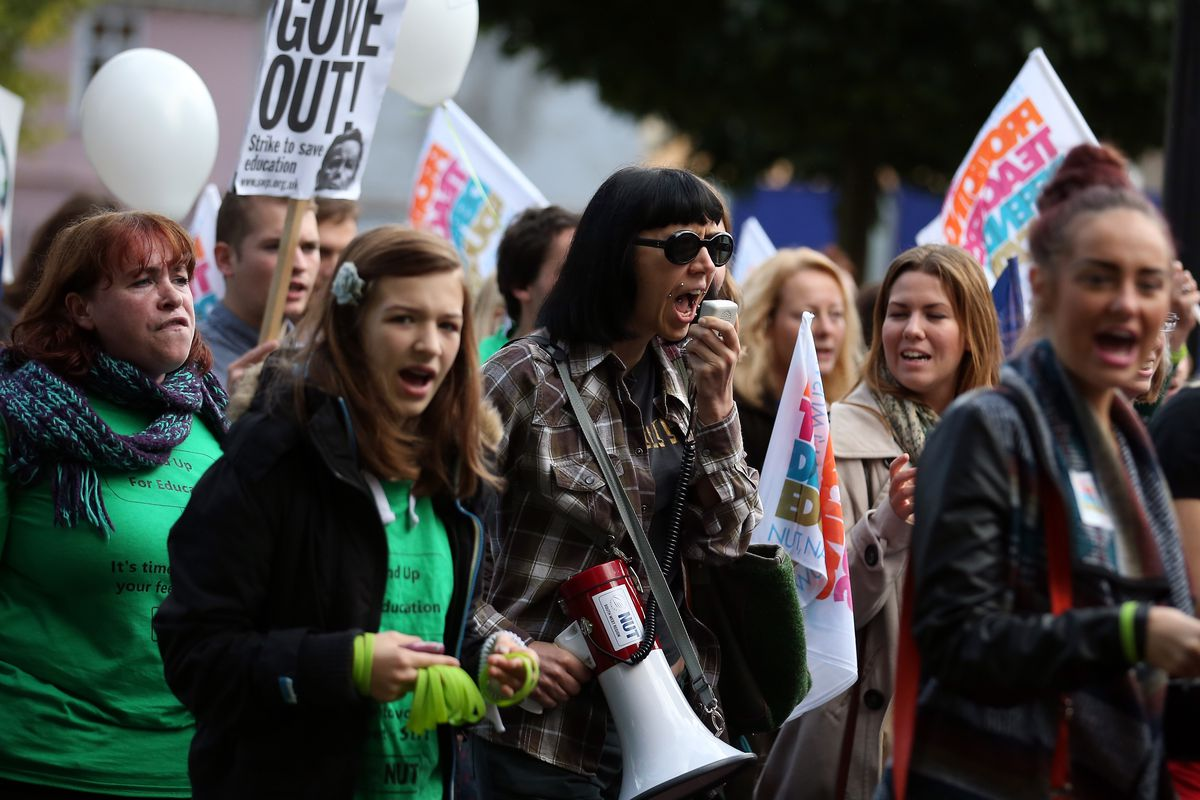 A protest organized by two British teachers' unions on October 17, 2013 in Bristol, England.
