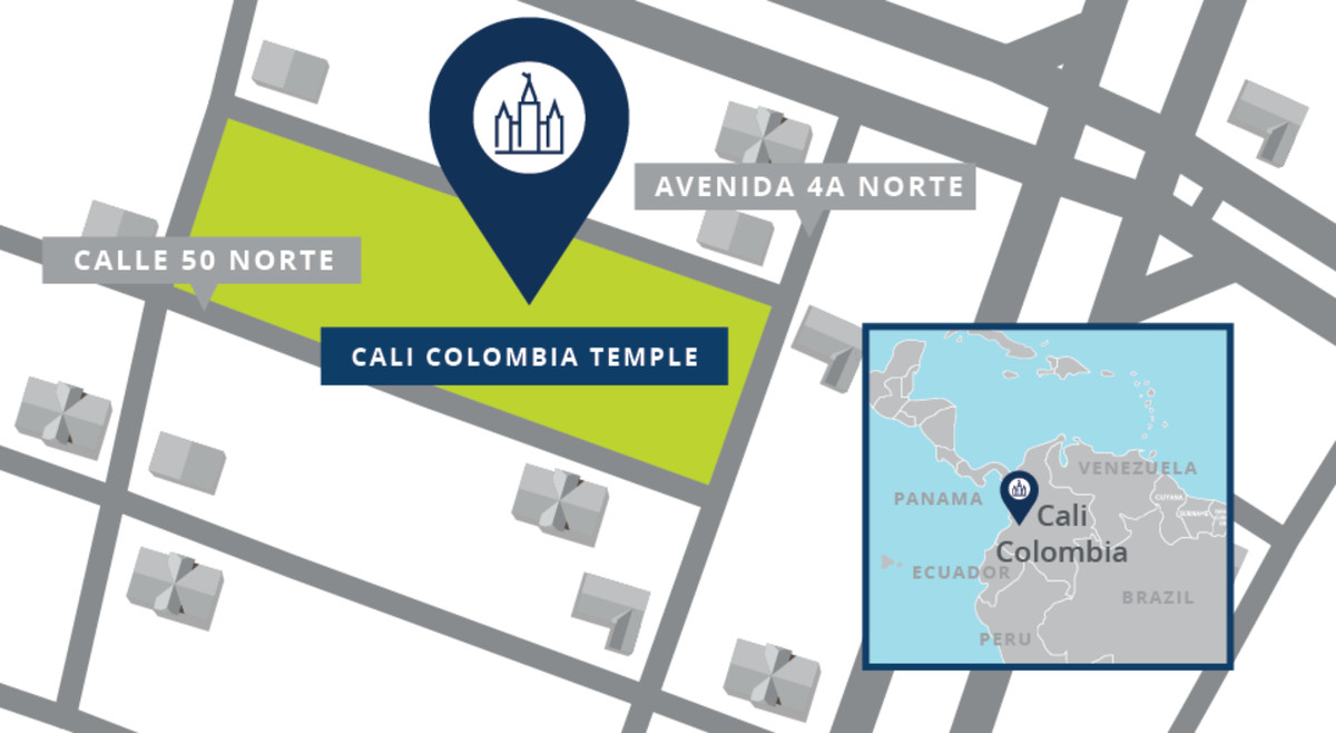 A map showing the location of the Cali Colombia Temple.