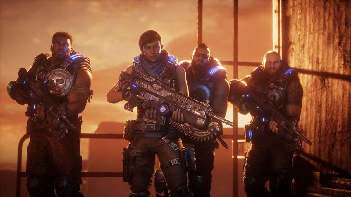 Gears 5 characters Del, Kait, Fahz, and JD