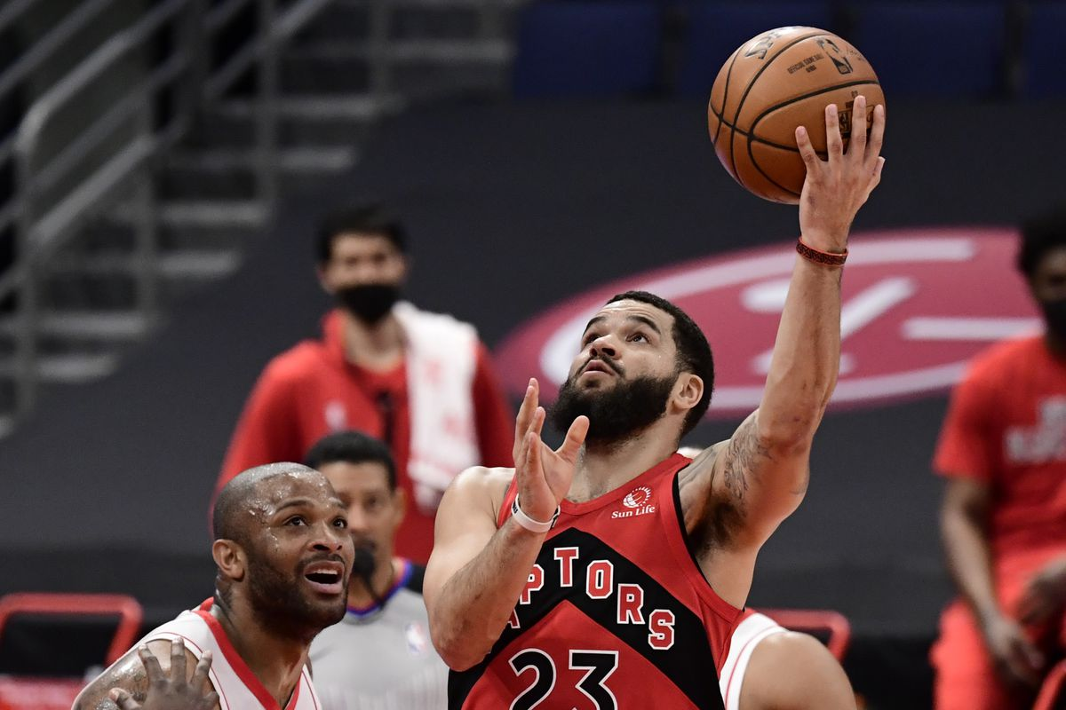 Fred VanVleet of the Toronto Raptors shoots the ball during the first quarter against the Houston Rockets at Amalie Arena on February 26, 2021 in Tampa, Florida.