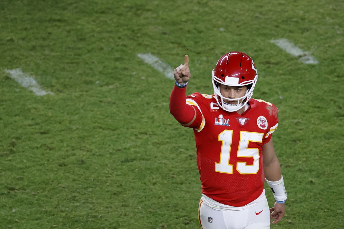 Chiefs quarterback Patrick Mahomes reacts after a play during Super Bowl LIV,