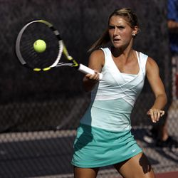 Madeline Foley of Rowland Hall competes against Molly Peterson of Waterford (not pictured) in the State 2A Tennis first seed singles tournament at Liberty Park in Salt Lake City Saturday, Sept. 29, 2012.