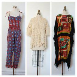 La Poubelle Vintage 1960s Indian cotton jumpsuit ($195); 1960s crochet wool sweater ($64); 1970s printed caftan ($58)