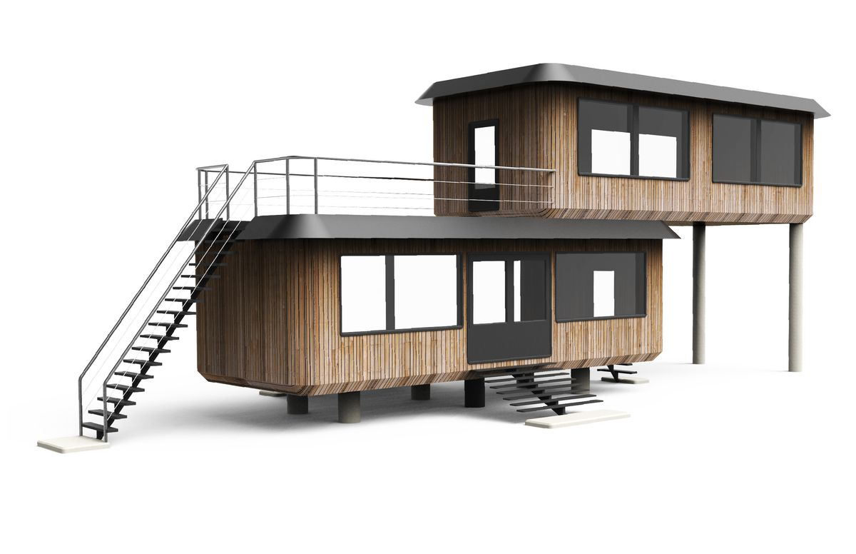 Prefab home with cantilevered module