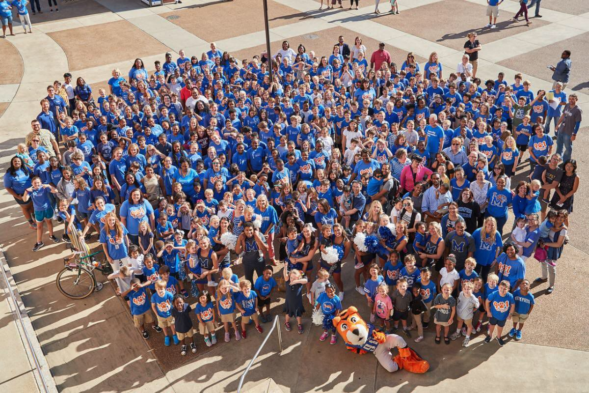 Students, parents, and staff at Campus School celebrate the beginning of a new school year with the University of Memphis' other campuses.