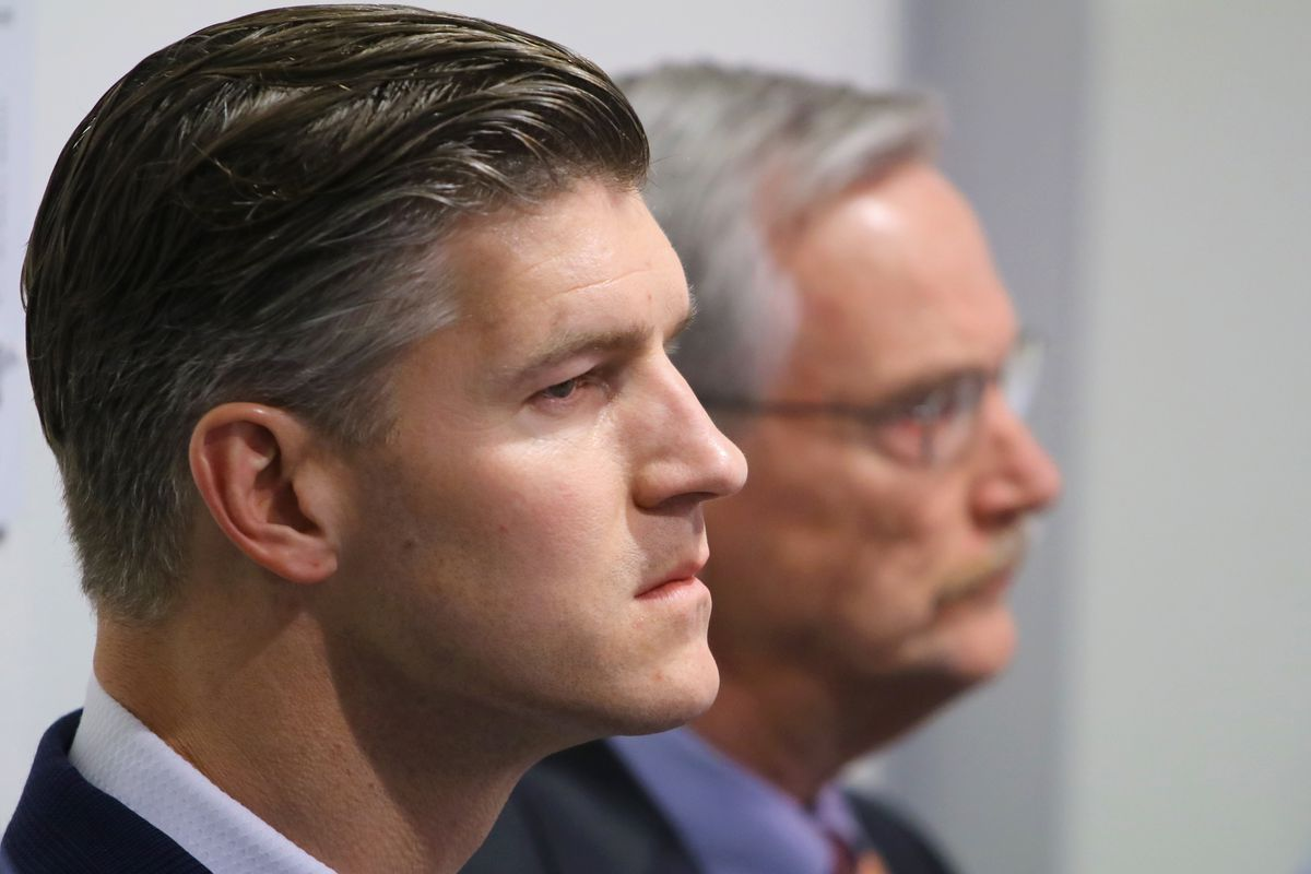 The Bears are 42-54 (.438) in six seasons with Ryan Pace (foreground) as general manager, though 28-20 with two playoff appearances in the last three seasons. After back-to-back 8-8 seasons, Bears chairman George McCaskey (background) will decide if Pace will remain as GM.