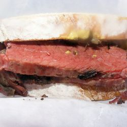 """Mile End smoked meat sandwich by <a href=""""http://www.flickr.com/photos/37619222@N04/5624296343/in/pool-eater"""">moosefan68</a>."""