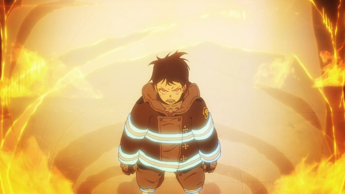 Shinra powers up, surrounded by flames