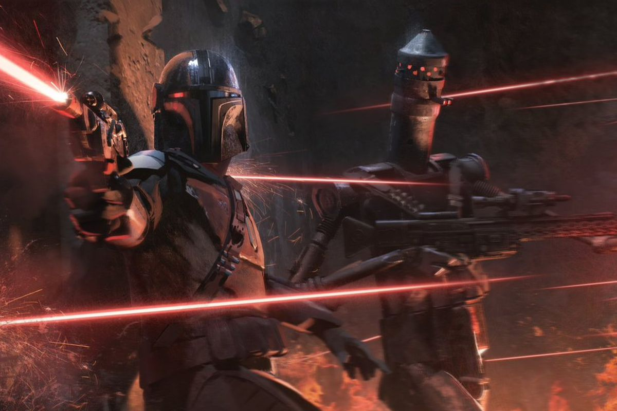 The Mandalorian and IG-11 shoot blasters in every direction in a shadowy fiery piece of concept art