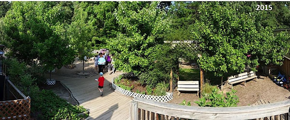 The outdoor play space at Spanish For Fun Academy in Chapel, Hill, NC, after a makeover.