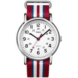 "<b>Timex</b> Weekender in Red White and Blue Stripe, <a href=""http://www.timex.com/watches/timex-weekender-slip-thru-t2n746kw?cid=wo6zhshw"">$45</a>"