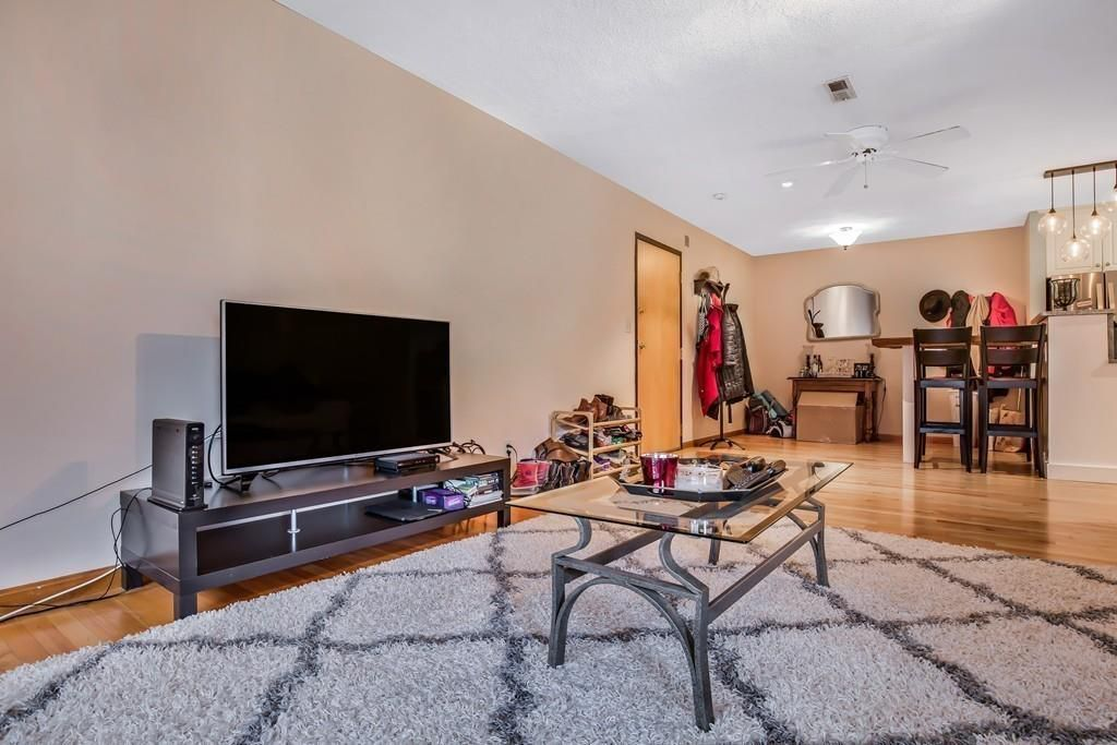 An expansive living room with a rug, a TV, and other furniture just beyond a front door.