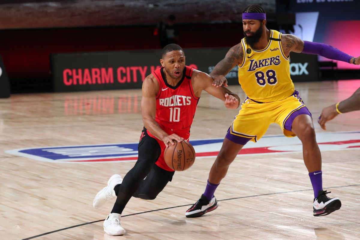 Eric Gordon of the Houston Rockets handles the ball against the Los Angeles Lakers during Game Four of the Western Conference Semifinals on September 10, 2020 in Orlando, Florida at AdventHealth Arena.