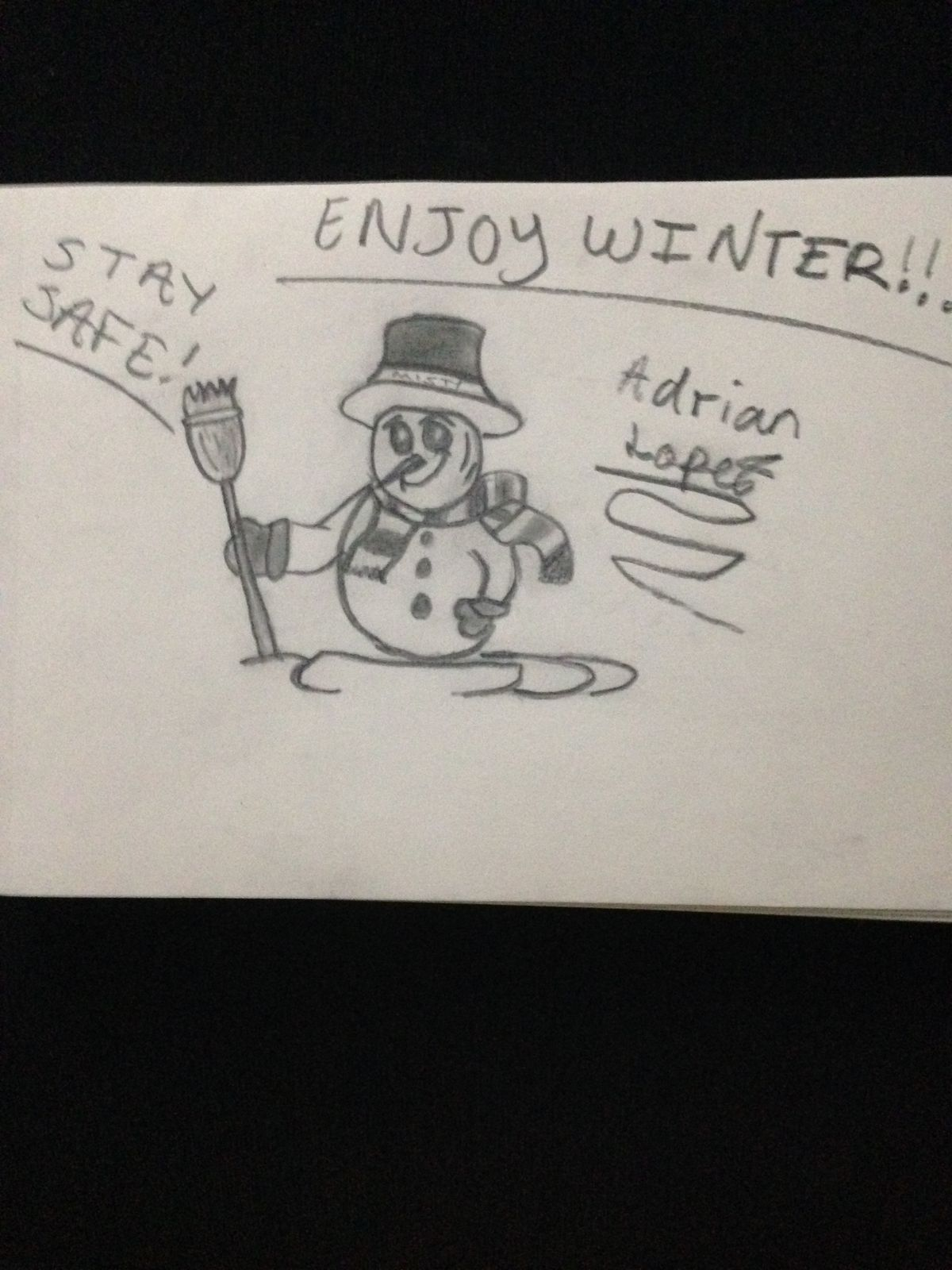 A snowman with a message by Adrian L., 13, a seventh-grader at Wadsworth Stem Elementary School on the South Side.