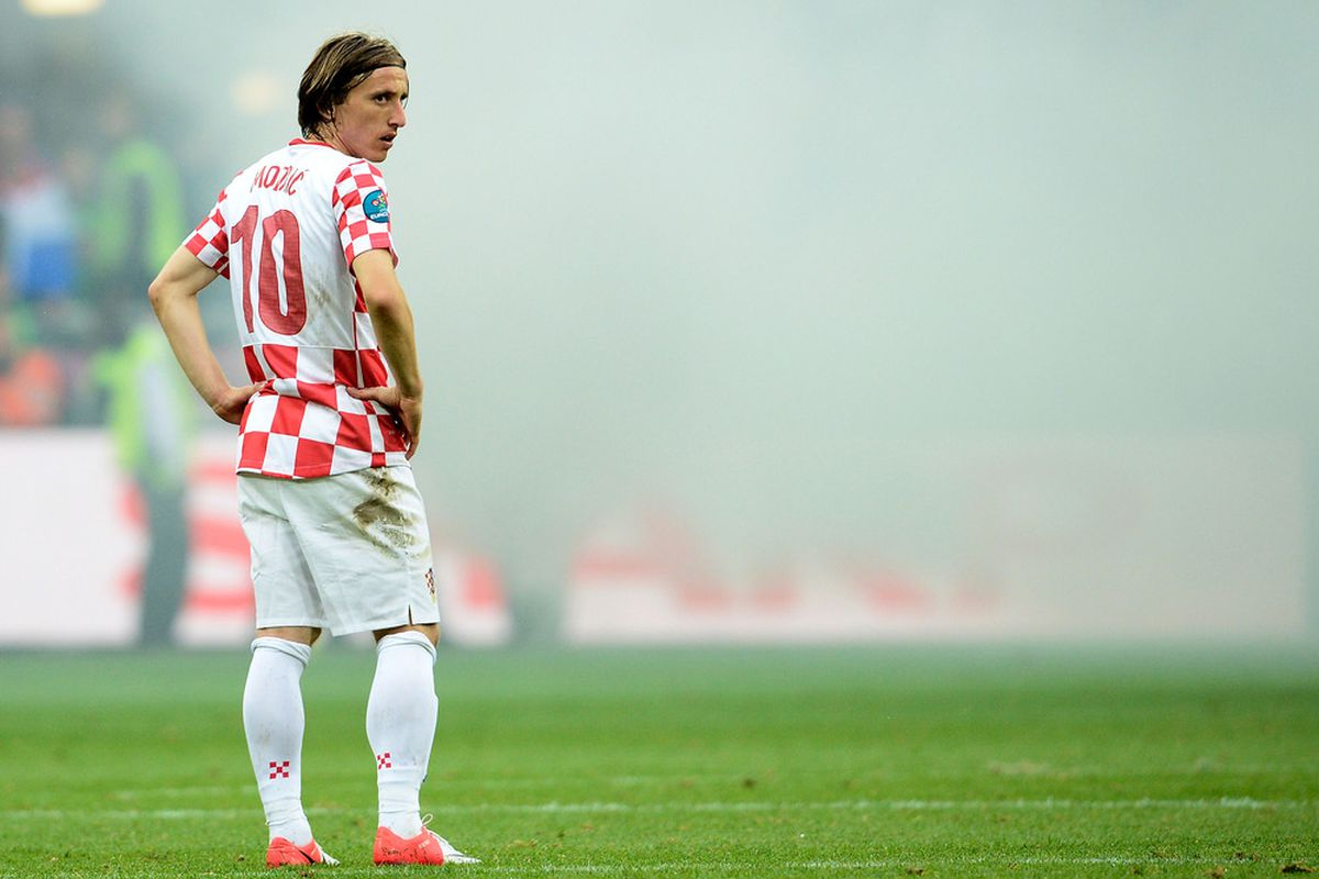 POZNAN, POLAND - JUNE 14: Luka Modric of Croatia looks on during the UEFA EURO 2012 group C match between Italy and Croatia at The Municipal Stadium on June 14, 2012 in Poznan, Poland.  (Photo by Claudio Villa/Getty Images)