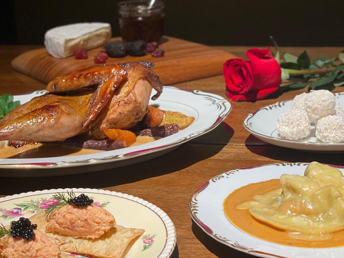 spread with cheese, quail, a rose, and more