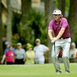 Brandt Snedeker reacts after missing a putt on the seventh green during the third round of the RBC Heritage golf tournament in Hilton Head Island, S.C., Saturday, April 14, 2012.