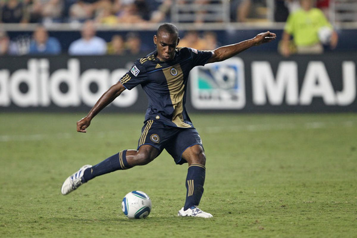 CHESTER PA - AUGUST 11: Midfielder Amobi Okugo #14 of the Philadelphia Union in action during the game against Real Salt Lake at PPL Park on August 11 2010 in Chester Pennsylvania. The game was a 1-1 tie. (Photo by Hunter Martin/Getty Images)