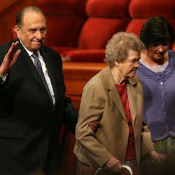 President Thomas S. Monson and his wife, Frances Monson, leave at the end of the morning session of the LDS General Conference of The Church of Jesus Christ of Latter-day Saints at the LDS Conference Center in Salt Lake City on Saturday, October 2, 2010.