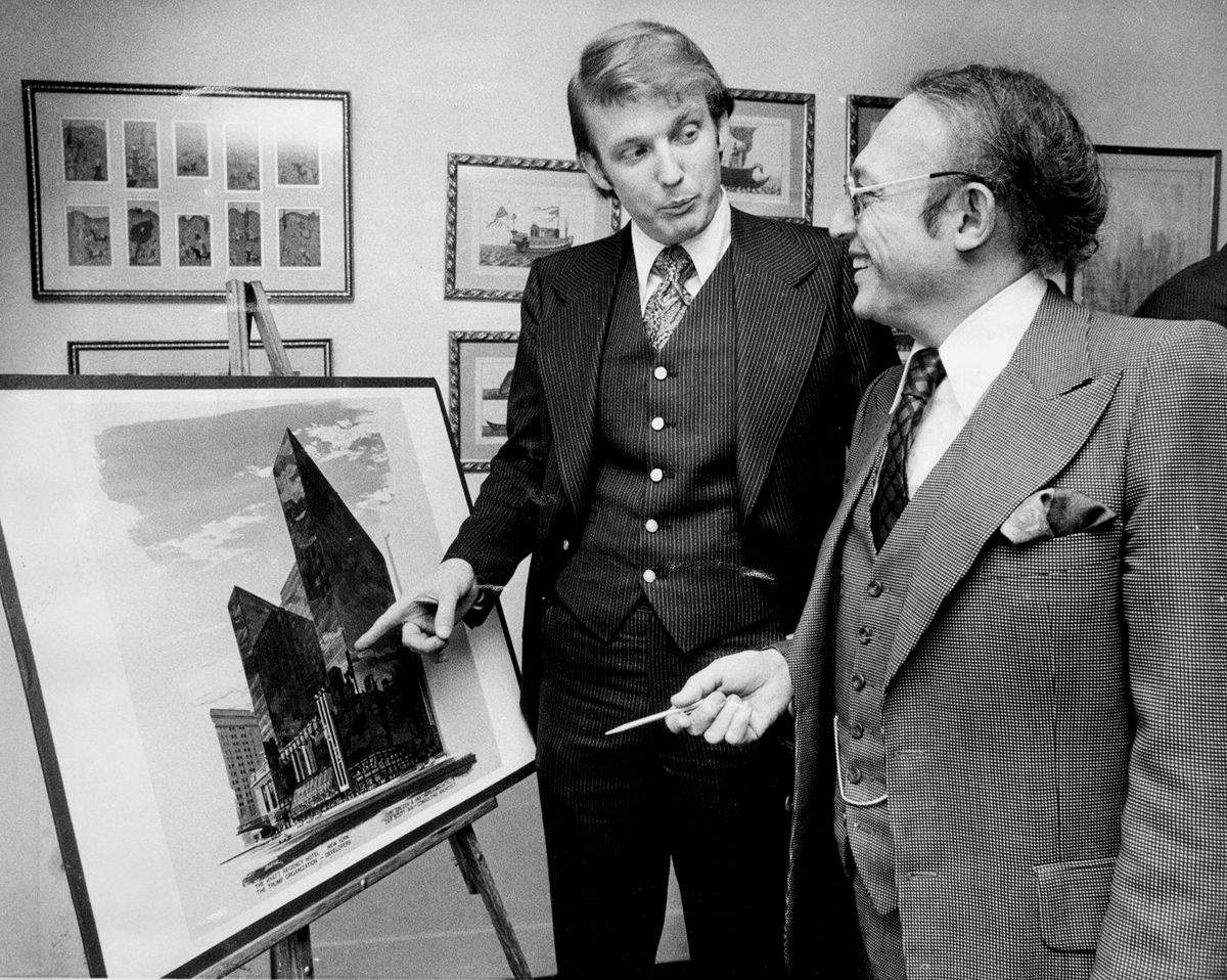 Donald Trump with New York City Economic Administrator Alfred Eisenpreis, looking over a sketch of the renovated Commodore Hotel (which would become the Hyatt).