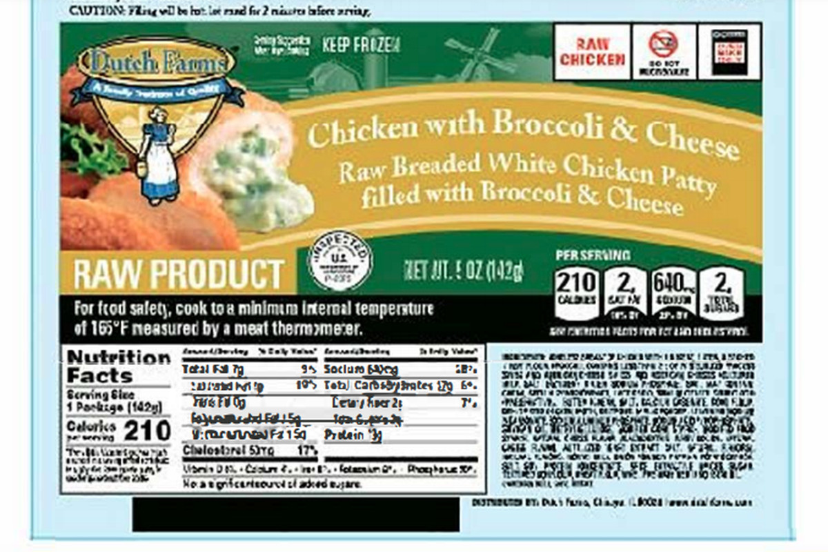 Five products are included in the chicken recall under three brand names: Dutch Farms Chicken (pictured), Milford Valley Chicken and Kirkwood, which is an Aldi store brand.
