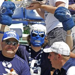 BYU fan prior to the game as Brigham Young University plays Weber State University in football  Saturday, Sept. 8, 2012, in Provo, Utah.