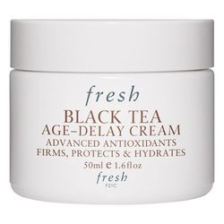 """<b>Fresh Black Tea Age Delay Cream</b><br> The moment you board a plane or check into a hotel room, you notice how dry your face feels. Imagine how bad a globe hopper's skin feels after weeks of travel. <a href=""""http://www.fresh.com/US/black-tea/black-te"""
