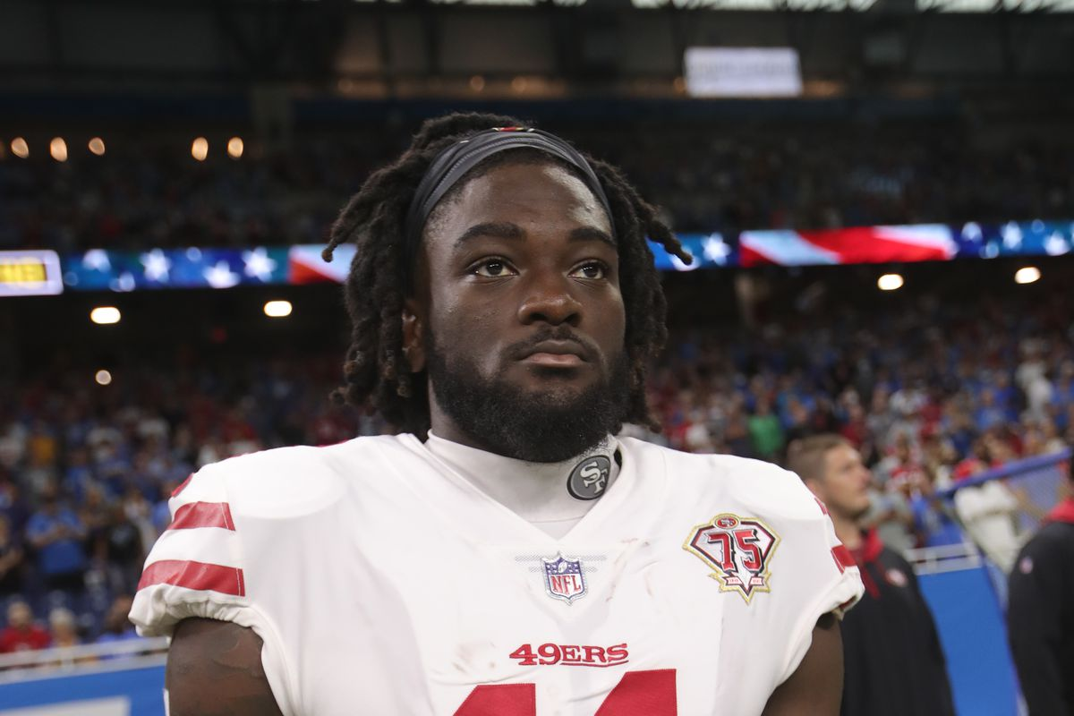Brandon Aiyuk #11 of the San Francisco 49ers on the sideline before the game against the Detroit Lions at Ford Field on September 12, 2021 in Detroit, Michigan.