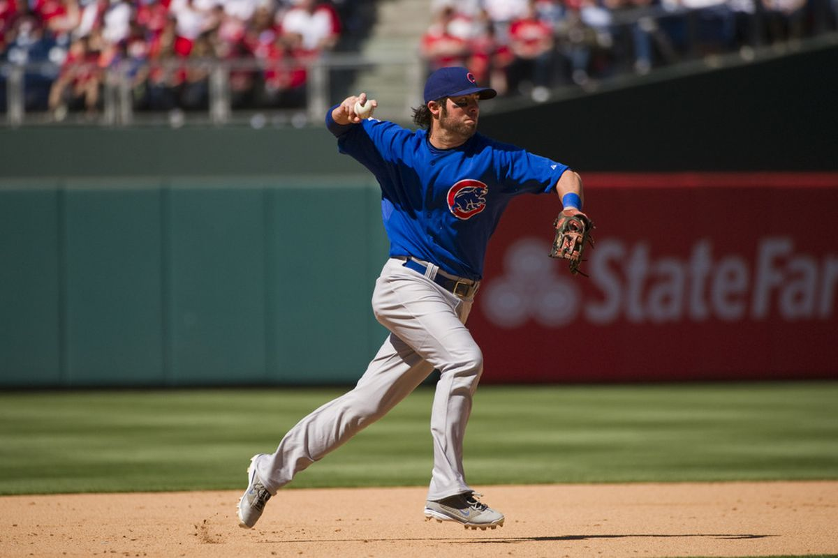 Philadelphia, PA, USA; Chicago Cubs third baseman Ian Stewart throws to first base against the Philadelphia Phillies at Citizens Bank Park. The Cubs defeated the Phillies 5-1.  Credit: Howard Smith-US PRESSWIRE