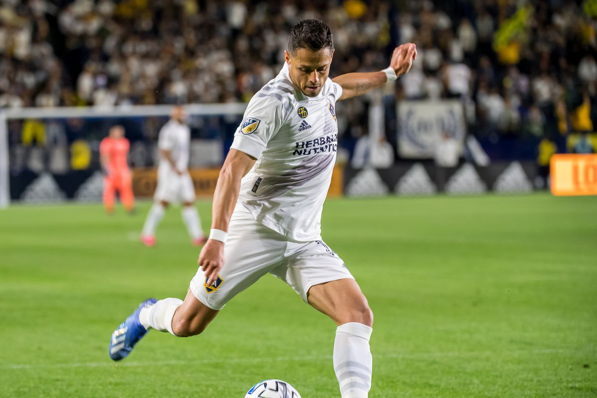 Javier Hernandez of Los Angeles Galaxy takes a shot during the Los Angeles Galaxy's MLS match against Vancouver Whitecaps at the Dignity Health Sports Park on March 7, 2020 in Carson, California.