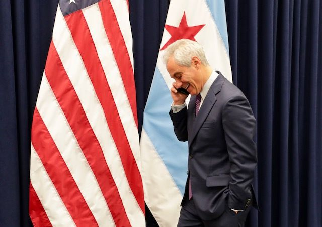 Mayor Rahm Emanuel took a congratulatory phone call from former President (and onetime boss) Barack Obama after the City Council approved a land transfer for the site of the Obama Presidential Center in Jackson Park. | Provided