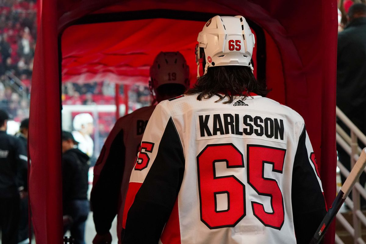 Jan 30, 2018; Raleigh, NC, USA; Ottawa Senators defensemen Erik Karlsson (65) heads out onto the ice against the Carolina Hurricanes at PNC Arena. The Carolina Hurricanes defeated the Ottawa Senators 2-1.