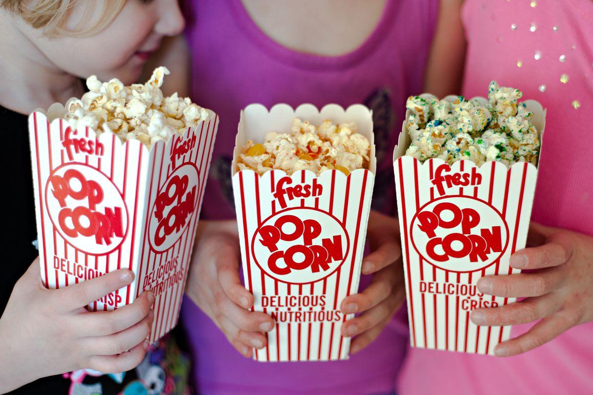 Girls with movie popcorn