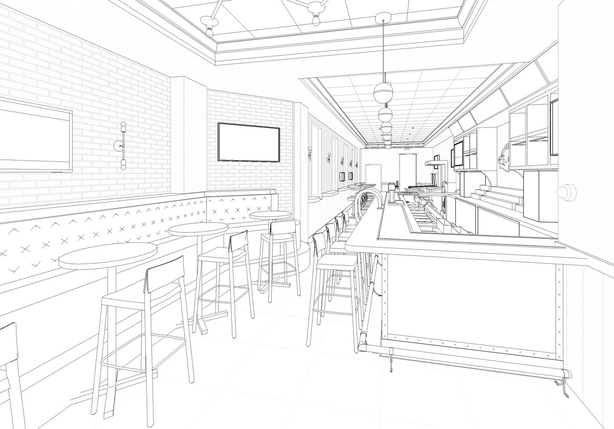 A black and white rendering of a long, narrow bar space.