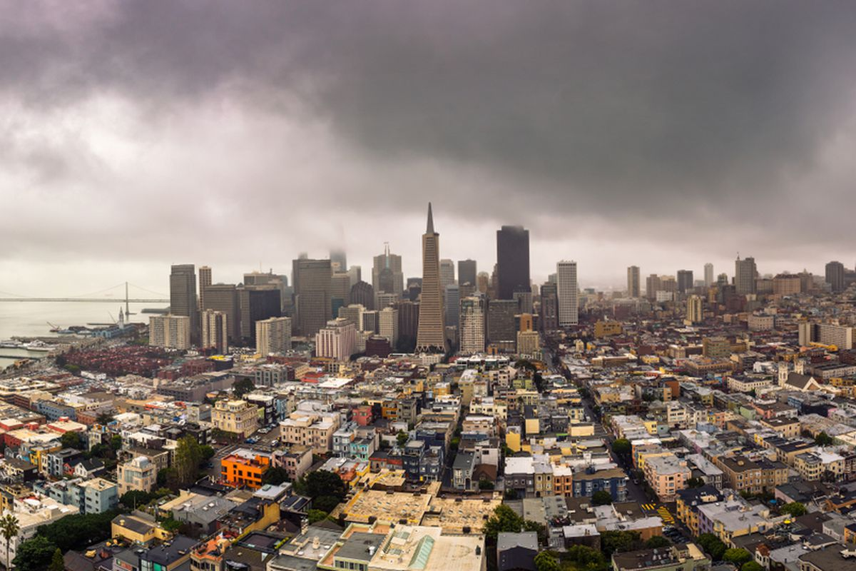 Dark clouds over San Francisco's skyline.
