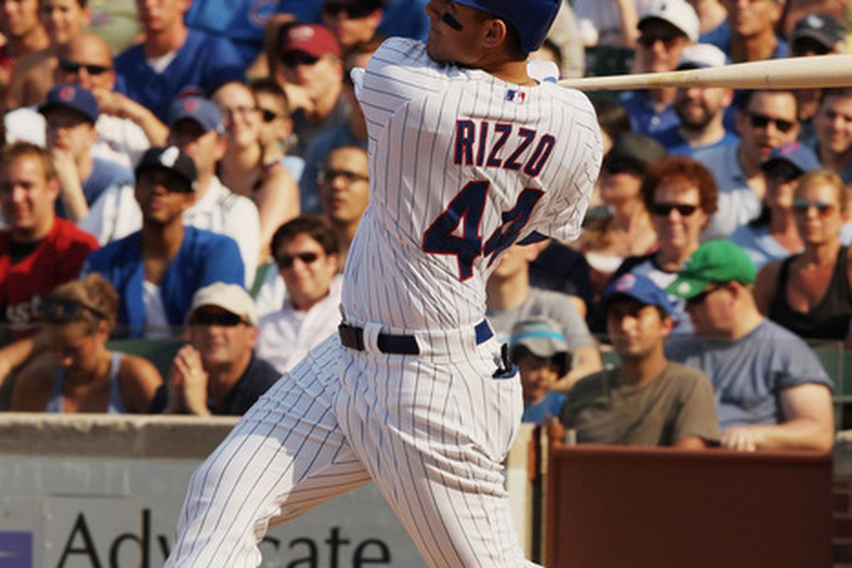 More Rizzo! Anthony Rizzo of the Chicago Cubs hits a two-run home run against the Houston Astros at Wrigley Field in Chicago, Illinois.  (Photo by Scott Halleran/Getty Images)