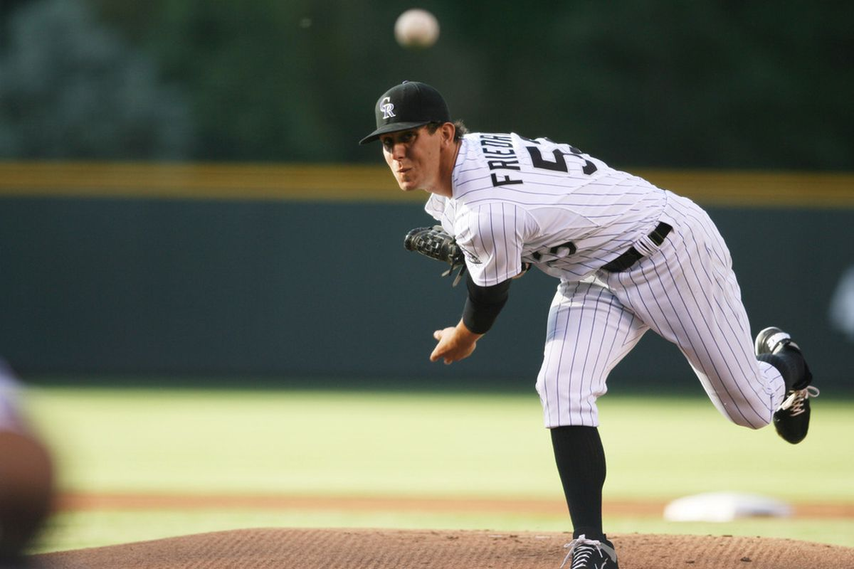 May 30, 2012; Denver, CO, USA; Colorado Rockies pitcher Christian Friedrich (53) delivers a pitch during the first inning against the Houston Astros at Coors Field. Mandatory Credit: Chris Humphreys-US PRESSWIRE