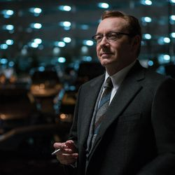 """Doc (Kevin Spacey) tells Baby he will do the driving for his next job in """"Baby Driver."""""""