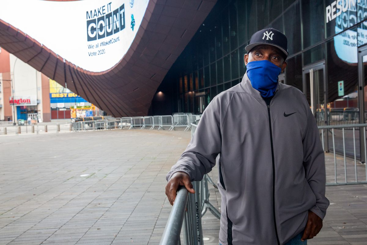 DUMBO resident Cliff Woodson was the first person in line at 6:15 a.m. to vote at the Barclays Center, Oct. 24, 2020.
