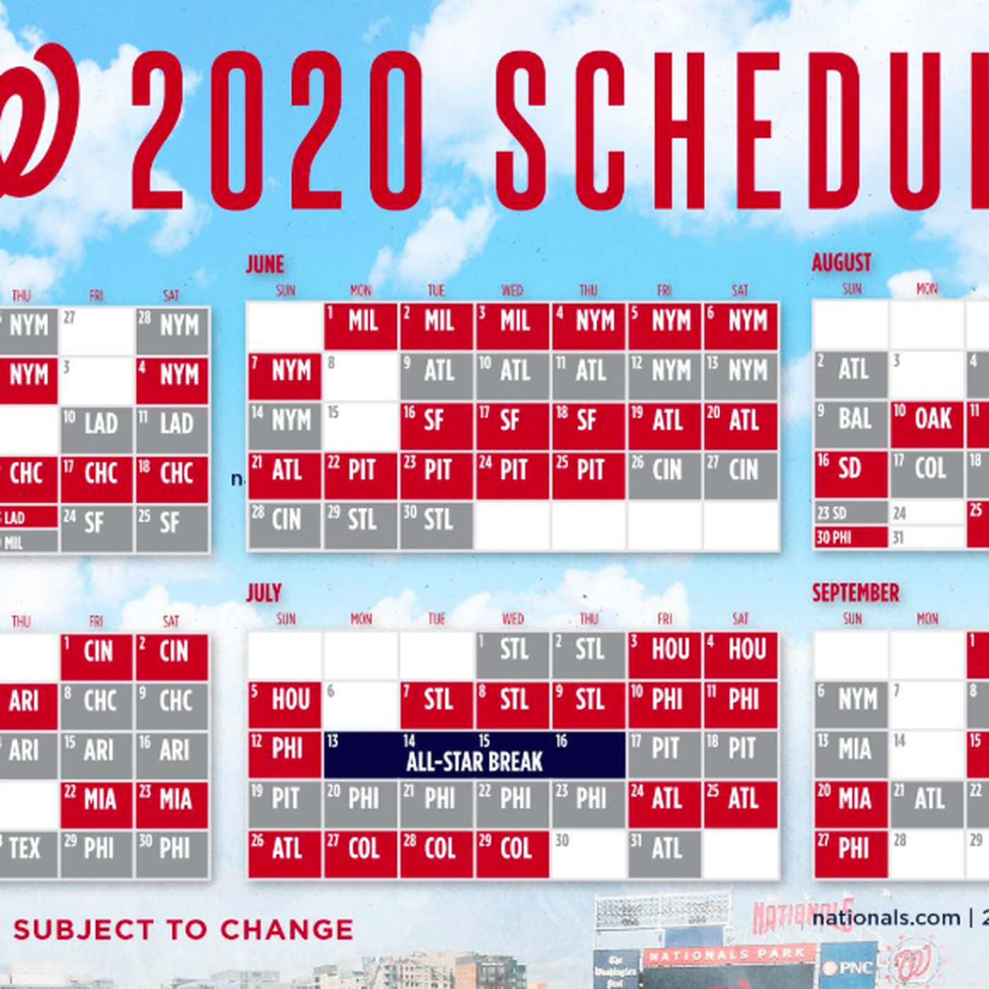 Washington Nationals' 2020 schedule released