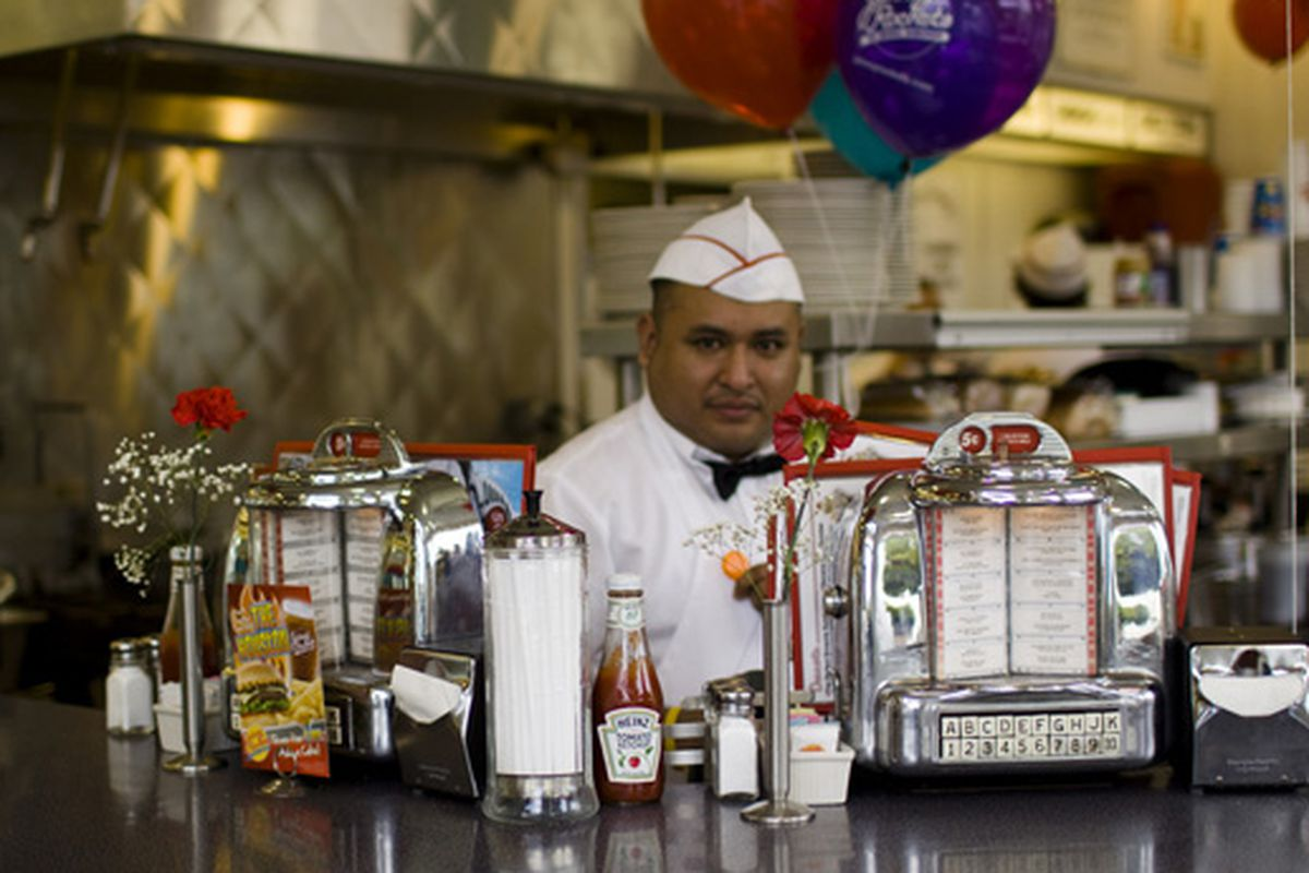 Johnny Rockets and condiments.