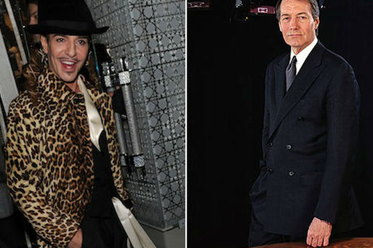 Galliano (left) via Getty and Charlie Rose